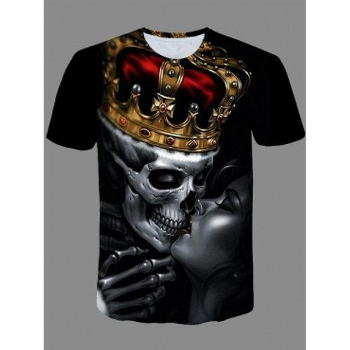 Men Street O Neck Print Black T-shirt