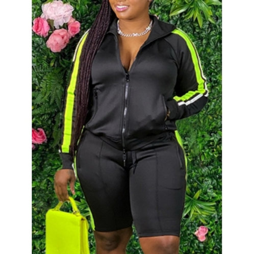 lovely Sportswear Turndown Collar Patchwork Black Two Piece Shorts Set