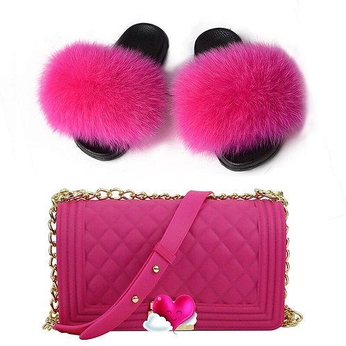 Women Fluffy Fox Fur Shoes Furry Sandals Travel Shoe Set