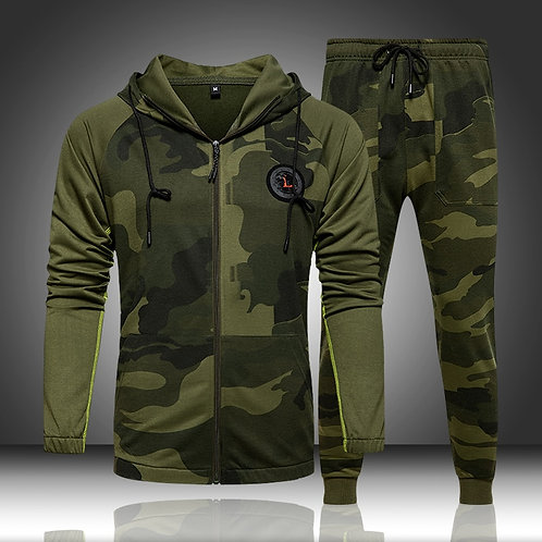 Camo Men Tracksuit Hooded Outerwear Hoodie Set 2 Pieces