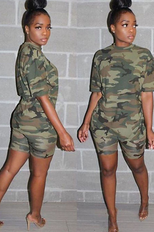 Cotton Fashion Casual Patchwork Camouflage Two Piece Suits pencil Short Sleeve T