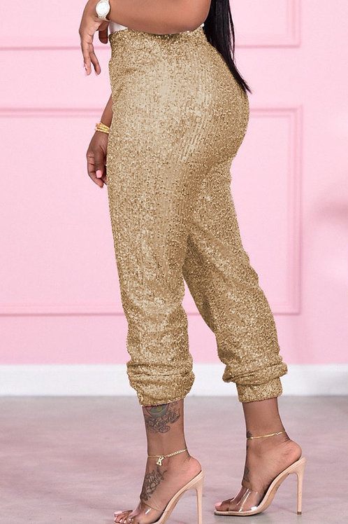 Sexy Solid Sequins Mid Waist Pencil Bottoms