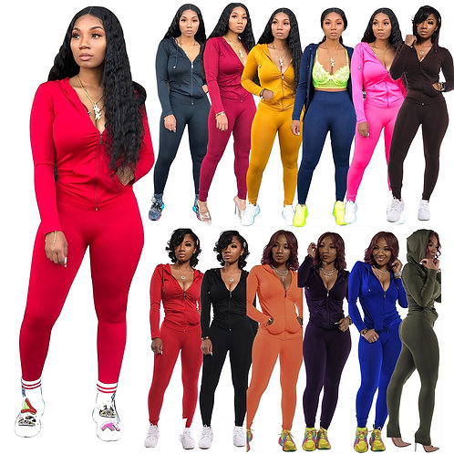 Two Piece Set Top and Pants Fashion Hoodies