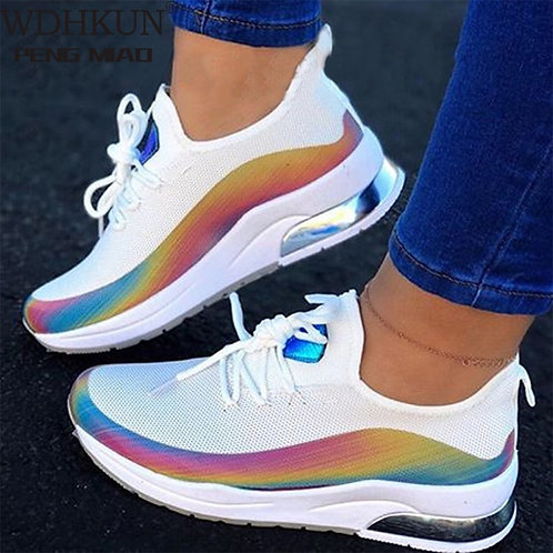Women Flat Mesh Ladies Lace Up Casual Breathable Comfort Walking Shoes