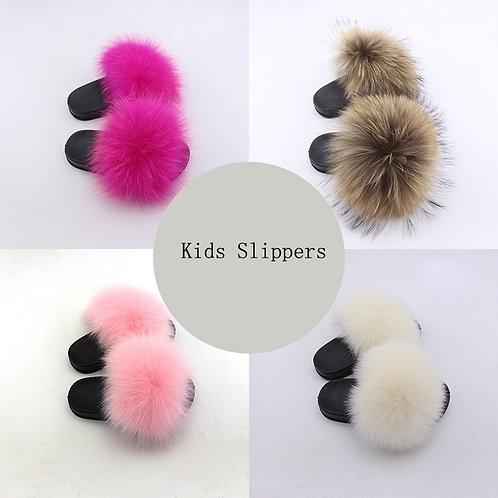 Kids Real Fox Slippers Raccoon Slides Toddler Baby Girls