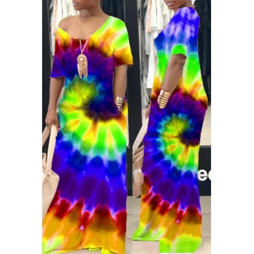 Street Tie-dye Green Maxi Dress