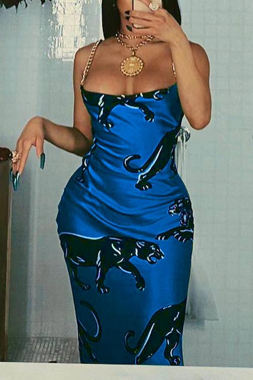 Sexy Print Chains Spaghetti Strap Lantern Skirt Dresses