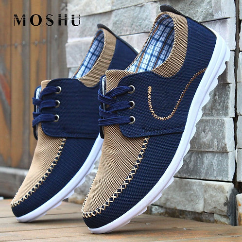 Casual Shoes Men Flats Fashion Leopard Loafers Lace Up Canvas