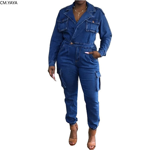 Women Plus Size Denim Jumpsuits Turn-Down Collar Full Sleeve Solid Rompers