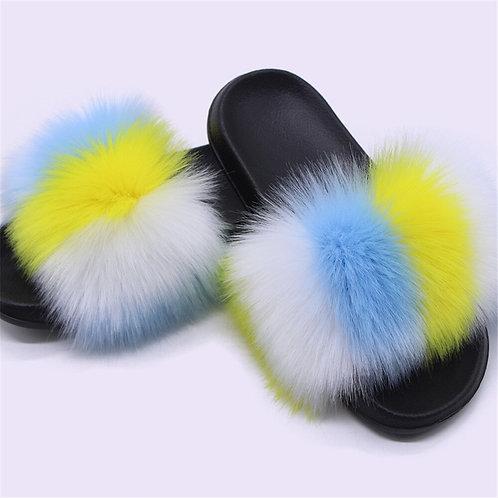 Women Fur Slides Faux Fox Fur Fluffy Slippers