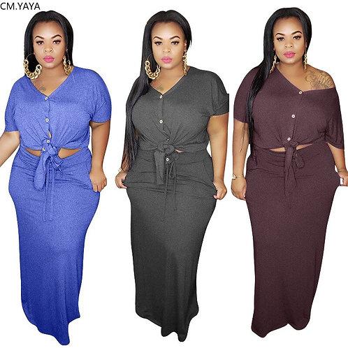 Plus Size XL-5XL Solid Women Two Piece Set