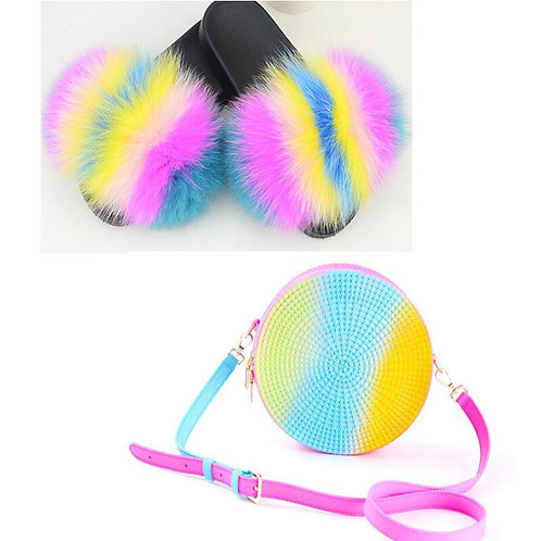Women's Furry Fur Slippers Plush  Fur Slippers Set  Jelly Purse Bags Match Sets