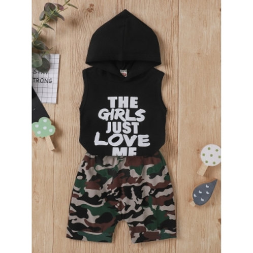 Sporty Hooded Collar Letter Camo Print Black Boy Two Piece Shorts Set