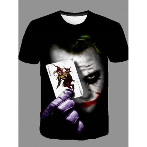 Men Casual O Neck Print Carbon Black T-shirt