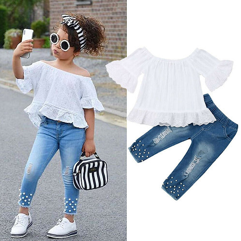 1-6t Kids Clothes Set Off Shoulder Flare Sleeve Top+Hollow Jeans