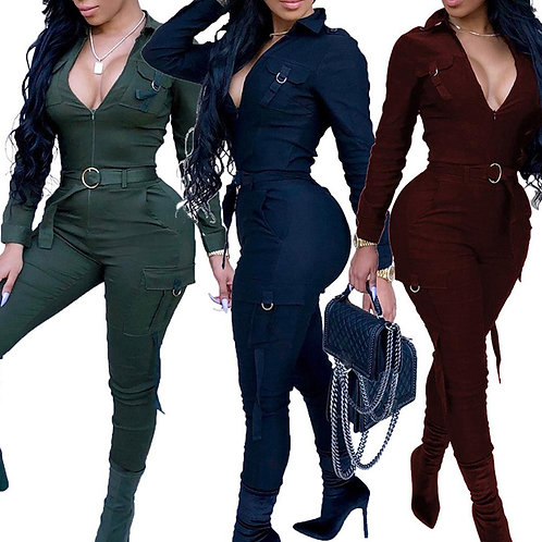 Sexy Women Bodycon Jumpsuit Sexy V-Neck Long Sleeve Romper