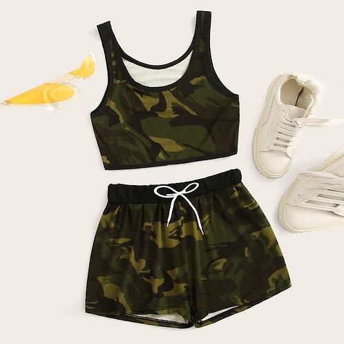 Camouflage Tank Top 2 Piece Set