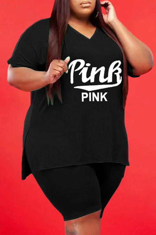 Casual Letter Solid Split Joint V Neck Plus Size Two Pieces