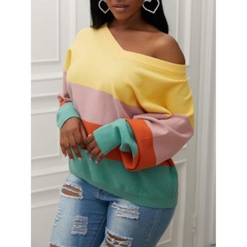 Street V Neck Rainbow Striped Yellow Sweater