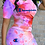 Thumbnail: Casual Patchwork Tie-dye Letter O Neck Short Sleeve Two Pieces