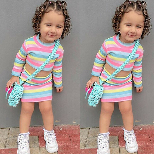 Toddler Kids Baby Girl Clothes Sets Color Rainbow