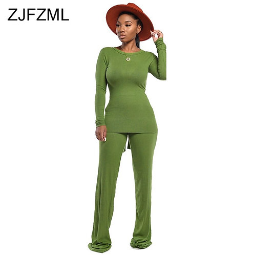 Two Piece Tracksuits Women's Set Tie Up Long Sleeve Tops and Wide Leg