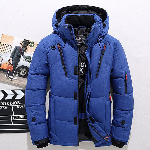 Men's White Duck Down Jacket Warm Hooded Thick Puffer Jacket Coat Male