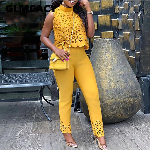 Women Streetwear Turtleneck Lace Hollow Out Top & Pants Set