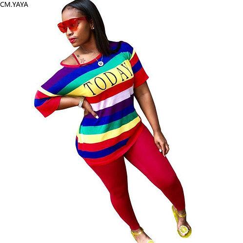 Women Set Rainbow Striped Letter Print T-Shirt Skinny  Two Piece Set