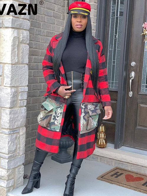 Sexy Red Plaid Coat High Street Style Full Sleeve Women Long Coat