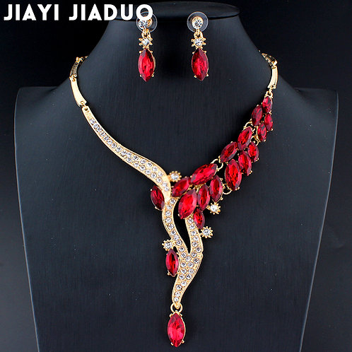 Jewelry Sets Red Crystal Necklace Earring Women Accessories Gold Color Dating