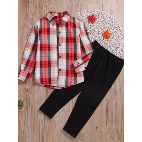 lovely Casual Shirt Collar Grid Print Red And White Girl Two-piece Pants Set
