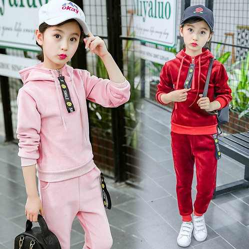 Girls Clothes Set Gold Velvet Girls Suit Hoodies+Pants 2 Pcs