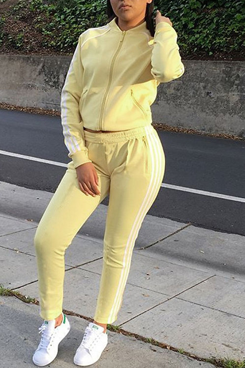 Casual Solid O Neck Long Sleeve Two Pieces