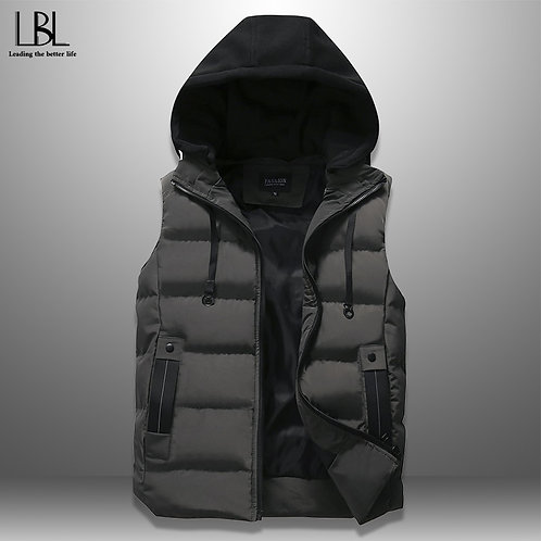 Autumn Winter Men's Casual Hooded Vest Solid Sleeveless Jacket Male
