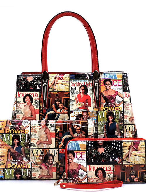 Magazine Cover Collage 3-in-1 Satchel Faux vegan leather