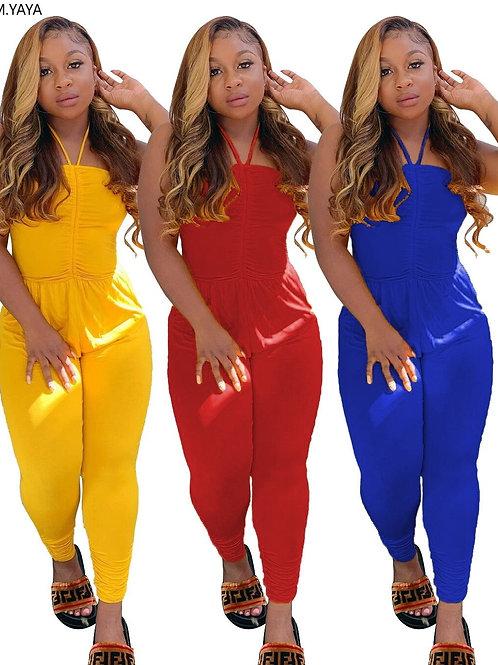 Women Plus Size S-4xl Halter Neck Sleeveless Bodycon Jumpsuit Fashion