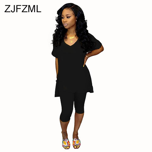 Solid Color 2 Piece Outfit for Women Short Sleeve Long Top and Pant Plus Size