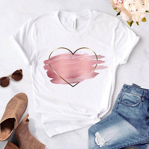 Heart Flower Print Ladies T-Shirt Ladies