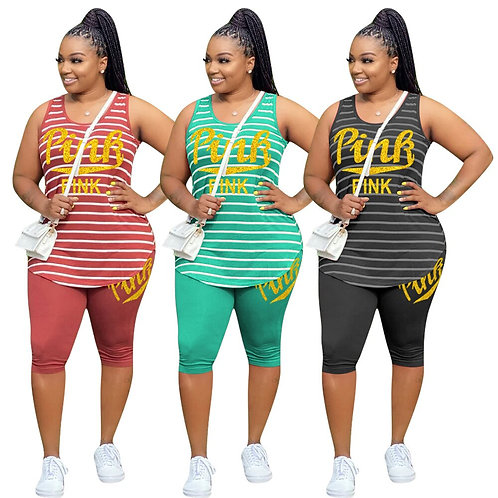 Women Sets Summer Tracksuits Striped Pink Print