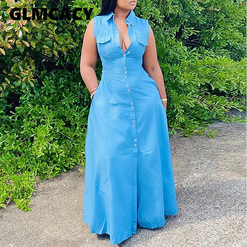 Women Plus Size Sleeveless Buttoned Dress Casual Chic Slit Solid Maxi Dresses