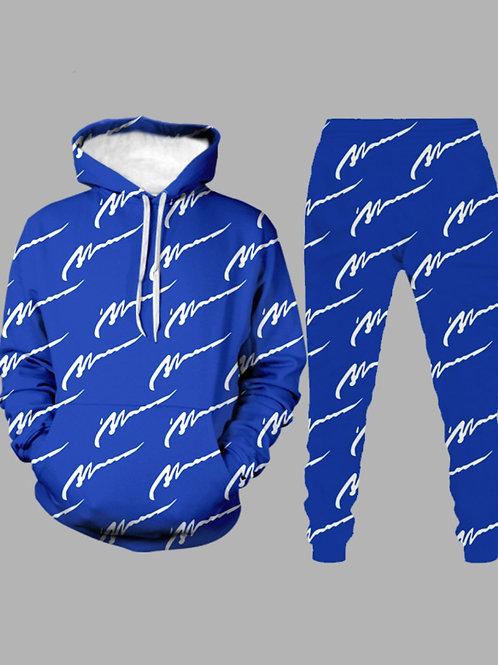 Street Hooded Collar Letter Print Blue Men Two-piece Pants Set