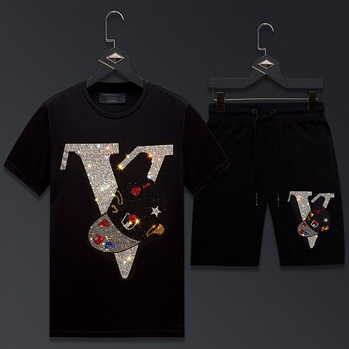 Men Clothing Sportswear Rhinestones Summer Suit