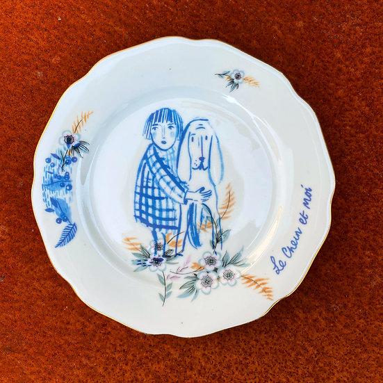 Le Chein et Moi, Vintage Czech Plate