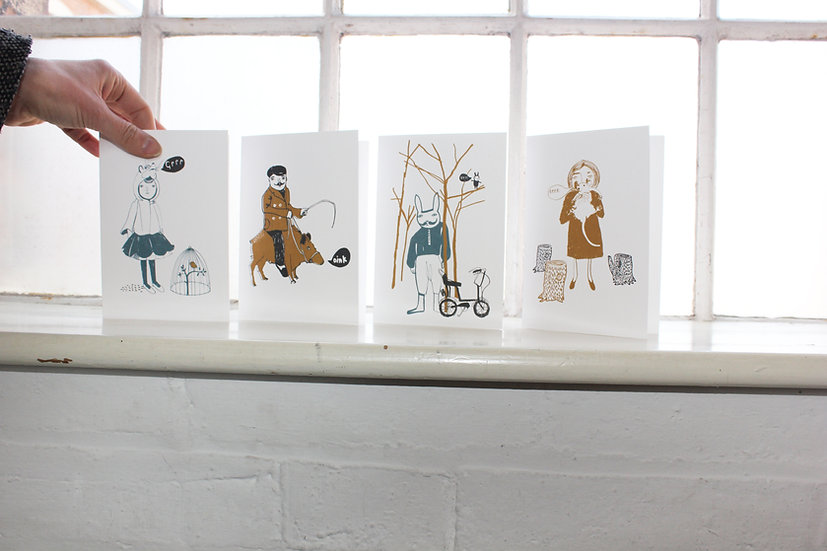 Litho Printed Greetings Cards X4