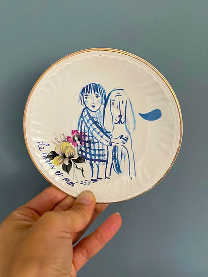 Le Chein et Moi, vintage french plate