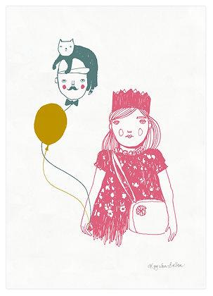 Girl and Balloon limited edition scfreenprint