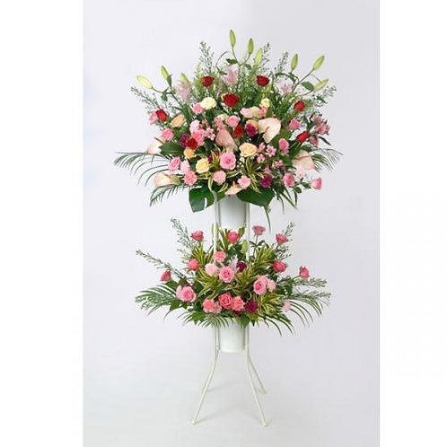 お祝い用2段式スタンド生花