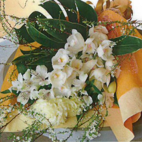 季節のランと洋花のお供え花束