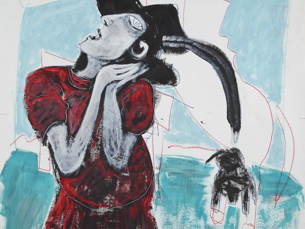 girl, hat and dog 2017 1,5mx1,5m acrylic